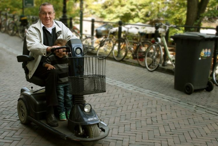Hinata goes for a ride with his grandad.